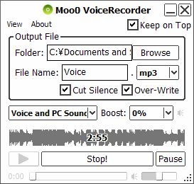 Moo0 Audio Recorder (Free) - Record Any PC Audio by 1-Click